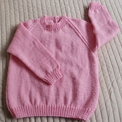 SIZE 5 - Hand knitted jumper Pink by CuddleCorner
