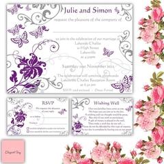 50 WEDDING INVITATIONS SET - RSVP Wishing Well Envelopes - Purple Butterflies