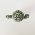 Crochet Cactus with Purple Blossoms in Cement Pot - Free Shipping