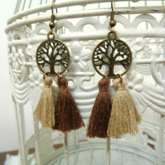 Bronze Tree of Life and Brown Tassel Earrings