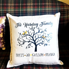 Personalised Family Tree Cushion with names, Welcome, Housewarming, gift, Mum