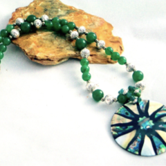 Mother-of-Pearl, Paua Abalone Shell Pendant on Malaysian JADE Necklace.