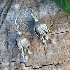 Silver bells - flower earrings