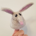 Numbat or bilby wool felted finger puppet.