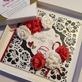 Red and White Roses Wedding Card with Black and Detailed White Background