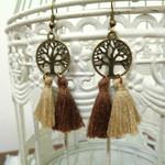 Bronze Tree of Life and Brown Tassel Earrings