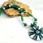 Mother-of-Pearl, Paua Abalone Shell Pendant on Malaysia JADE Necklace.