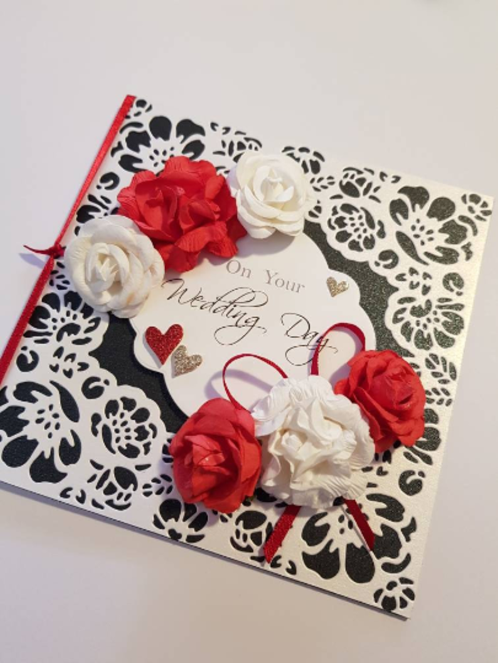 Red And White Roses Wedding Card With Black And Detailed White