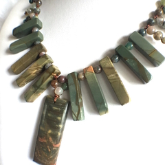 Natural Picasso JASPER and Agate Hand-crocheted Tribal Style Necklace.
