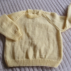 SIZE 4 -5 - Hand knitted jumper in Yellow : Unisex, washable, OOAK