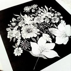 Inked Flowers Illustration