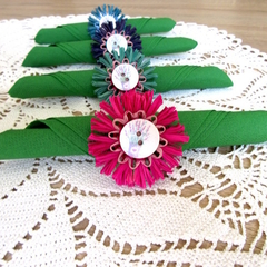 Floral Napkin Rings Raffia Blossom Rustic Country Kitchen Table Decor Set of 4