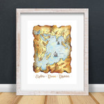 A5 Map Illustration | Fine Art Giclee Print | Explore Dream Discover | Whimsical