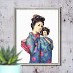 Sun Mei and Little Tsan ~ A5 Illustration Giclee Print | Oriental Wall Art