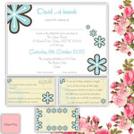 50 WEDDING INVITATIONS SET: RSVP Wishing Well Envelopes White Blue Beach Flowers