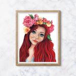 Flora's Secret ~ A5 Fine Art Giclee Print | Redhead Feminine Woman | Home Decor