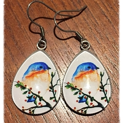 Teardrop Glass bird Earrings