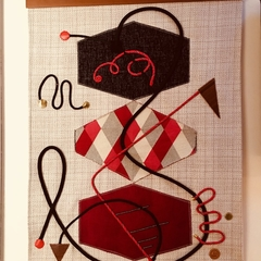 "Modernist fabric wall hanging- ""Plus fours & dance floors"""