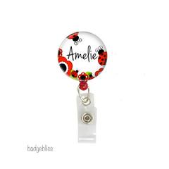 Personalised ladybird retractable badge reel