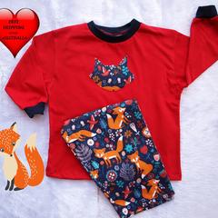 Boys Pyjamas, Toddler pyjamas,Boys pj's, Baby boys pj's size 1 , Foxes Galore
