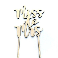 Miss to Mrs timber wooden MDF or Bamboo Veneer bridal shower / Hens party cake t