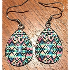Teardrop Retro Glass Earrings