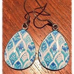 Teardrop Blues Glass Earrings