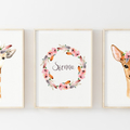 Nursery Art Trio - Giraffe, Deer and Personalised with a Name or quote