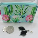 Coin Purse Cactus Print with Hotpink Tassel