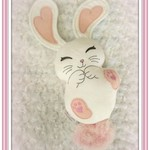 White with Pink Detail Bunny, Handcrafted Rabbit, Gift Idea Bunny, Gift
