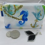 Coin Purse with Seahorse Print and Royal Blue Tassel