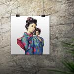 Sun Mei and Little Tsan ~ A4 Illustration Giclee Print | Oriental Wall Art