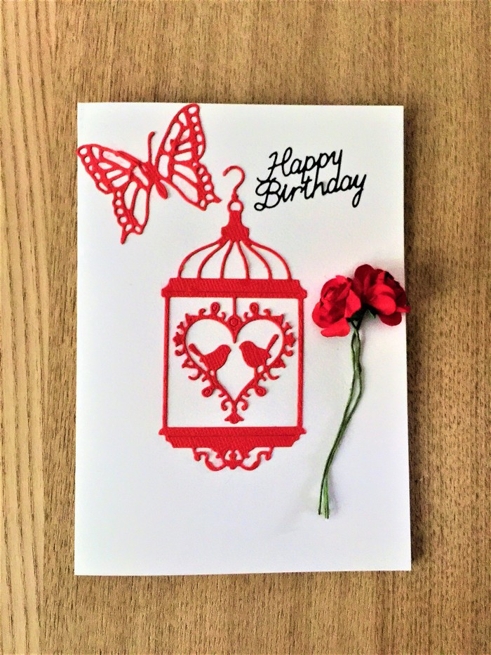 Female Birthday Card With Love Birds Butterfly And Roses