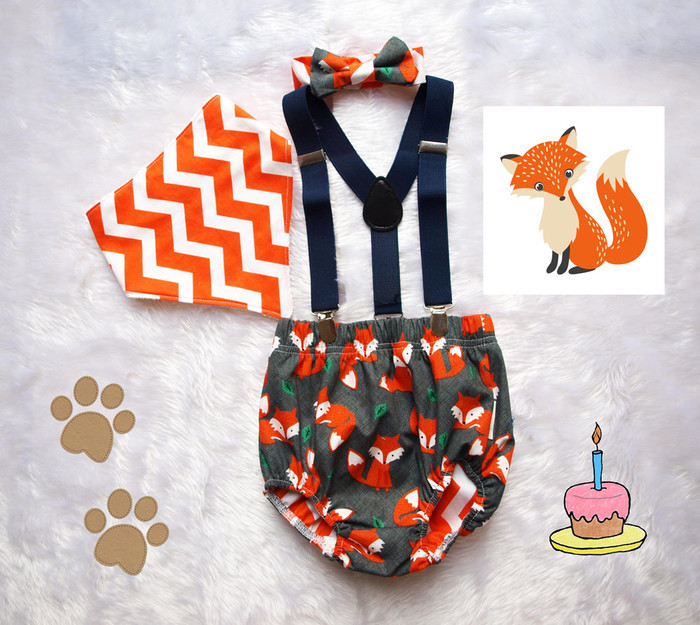 Boys 1st Birthday Outfit Cake Smash Foxes Galore Photo Shoot