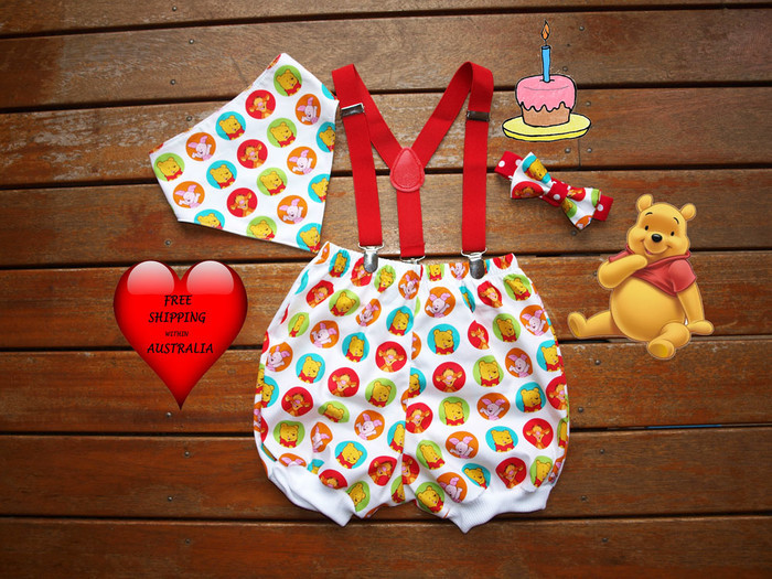 Boys 1st Birthday Outfit Cake Smash OutfitWinnie The Pooh Photo Shoot