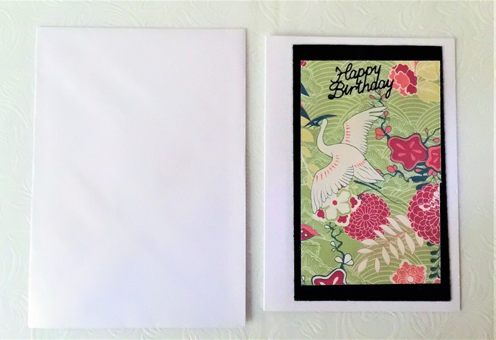 Unisex Birthday Card With Gorgeous Japanese Paper And Cranes