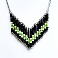 Black and Green Beaded Retro Geometric Necklace