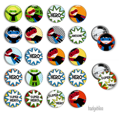 Superhero button badge party favours