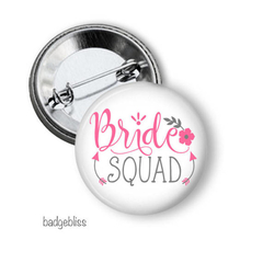 Bride Tribe or Bride Squad pack of 10 party badges