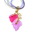 Pink and Purple Autumn Leaf + Gold Branch Necklace. Maple Leaf.