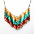 Turquoise and Gold Beaded Retro Geometric Necklace