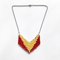 Red and Amber Beaded Geometric Necklace