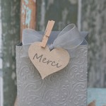 30 Kraft Hearts Thank You ~ Merci Gift Tags ~ Merci Favour Tags