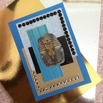 'Tutankhamun' Turquoise Pearlised Birthday Card with Faux Gems