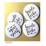 Pack of 10 Hen Party badges  gold foil - Bride Tribe