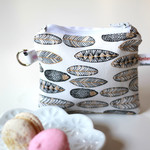 Zippered pouch, coin purse in Gold and Black Feathers and White cotton