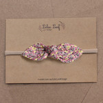 Purple Floral Fabric Bow