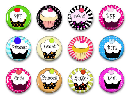 Cupcake button badge party favours