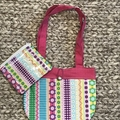 Rainbow stripes and flowers handbag and purse