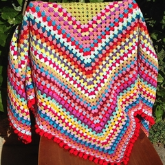 Crochet blanket - colourful granny rectangle with pom pom edge